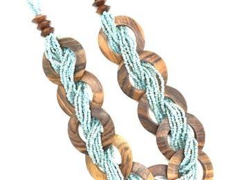 Artisanal Necklace,Multi Bead & Wood Circles