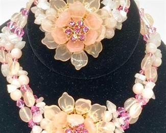 Choker Necklace & Bracelet Pink Beaded Jewelry Set
