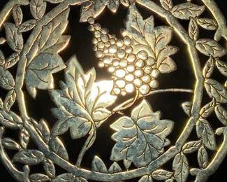 Gold Toned Table Trivet w Fruit Motif, italy