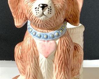 Ceramic Cachepot with Puppy Dog Figural