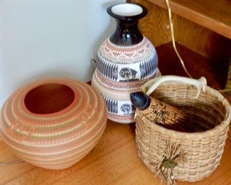 POTTERY AND BASKETS FROM TRAVELS
