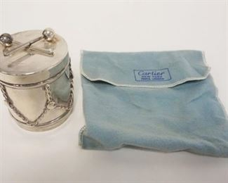 1010CARTIER STERLING WEIGHTED DRUM PAPERWEIGHT WITH BAG, 3 1/2 IN HIGH