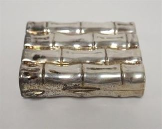 1011STERLING BAMBOO PATTERN HINGED BOX, 1.03 TOZ, 2 1/4 IN WIDE