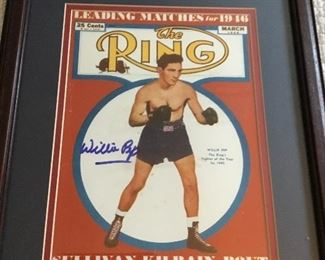 Signed boxer poster, Willie Bout