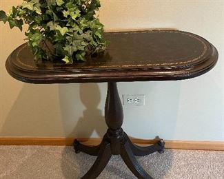 Leather top accent table