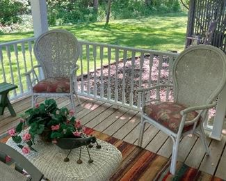 Vintage wicker chairs and wicker table