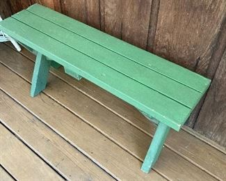 One of four matching  benches for vintage picnic table