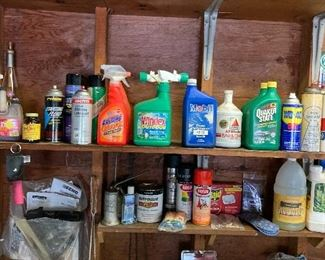 Lubricants, degreasers, motor oil, Spray paints and cleaning products
