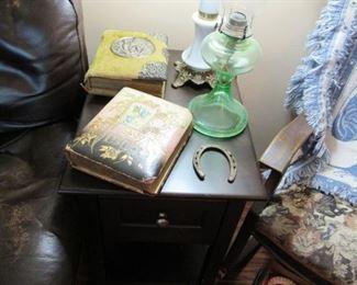 Antique pair of Victorian photo albums with pictures, antique kerosene lamp