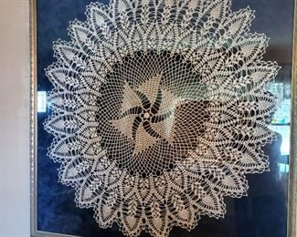 Antique crochet lace tablecloth framed