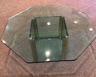 """$350 Vintage Brass and Glass Octagonal Coffee Table by Leon Rosen for Pace. Measures 42"""" across."""