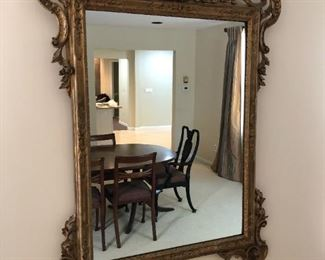"""$350 This beautiful antique gilt mirror has been professionally restored and is in very good condition. Exquisite detail. This would make a lovely entrance mirror or be a showpiece in any room in your home. It is very heavy and will require 2 strong movers. 55""""H x 38"""" wide Excellent condition."""