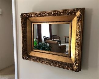"""$300 Lovely heavy wooden mirror with heavy gilt finish frame. Look how wide that frame is! Great for entryway or any space in your home. Mirror has been professionally restored and is in very good condition. 31"""" X 25"""" Very heavy - you will need 2 sets of hands to move."""