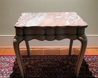 """Marble-top table - 19"""" high x 22"""" square"""