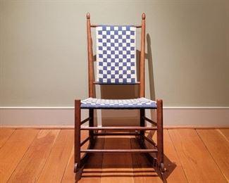 "Blue and white check rocker - 33"" high x 18"" wide x 18"" deep"