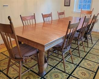 """Dining Table and Chairs  - 8 chairs. This table is super flexible...there are 7 leaves!  As shown, the table is 29"""" high x 109"""" wide x 42"""" deep.  Each leaf is 10"""".  This table can drop down to almost square in no time! So many options!"""