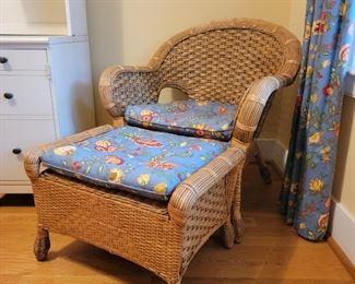 """Chair - 36"""" high x 31"""" wide x 25"""" deep; ottoman - 16"""" high x 25"""" wide x 18"""" deep"""