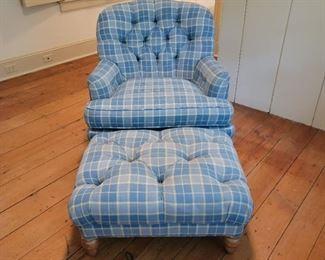 """Chair 32"""" high x 32"""" wide x 32"""" deep; Ottoman 14"""" high x 28"""" wide x 21"""" deep"""