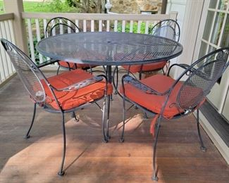 "Table - 30"" high x 48"" diameter; chairs - 35"" high x 26"" wide x 21"" deep"