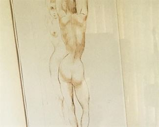 Another Aaron Bohrod piece; this one pen & ink Nude.