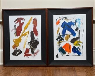 PAIR OF ABSTRACT PAINTINGS | Acrylic on canvas, no apparent signature; 26-1/4 x 20-1/4 in. (overall)