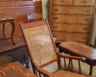 Beautiful antique furniture! Inlaid tables, rocker, cedar chest, beds, and dressers.