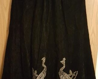 Velvet Opera Coat with Beaded Peacocks