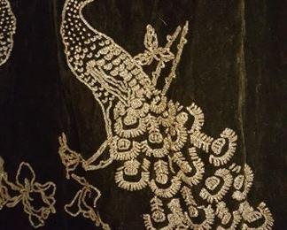 Velvet Opera Coat with Beaded Peacocks Detail