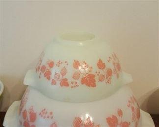 Pink Gooseberry Cinderella Pyrex Bowls