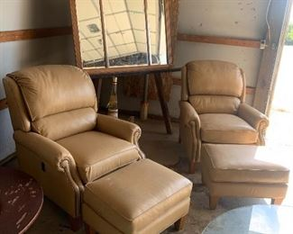 Pair of Later Recliners with ottomans