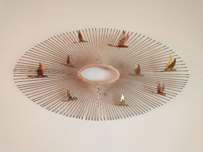 Mid-Century Modern Brass Starburst with Birds in Flight