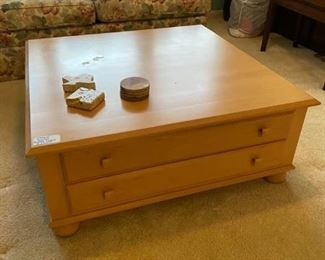 """Ethan Allen large Coffee Table Drawers come out on both sides Good condition 38"""" x 38"""" x 15"""" tall Pickup in Bellaire. Must be able to move and load yourself."""