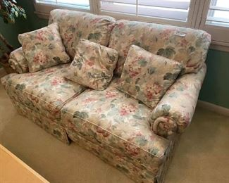 """Floral Loveseat Great condition!  65"""" across x 35"""" deep x 19"""" tall to seat, 34"""" tall to back. Must be able to move and load yourself."""