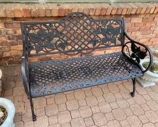 """Metal Outdoor Bench 46"""" across x 18"""" deep x 15"""" tall to seat, 33"""" tall to back. Must be able to move and load yourself"""