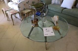 This is a nice glass-topped coffee table.