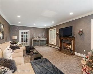 Century Family Room Sofa w double chaise, end tables and all matching decor