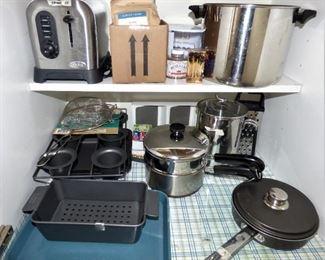Vintage Copper Bottom Revere Double Boiler, 8 Qt. stock pot, Meat Loaf pan, etc