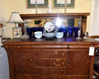 Antique Tiger Oak Buffet with mirror