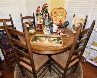 Oak Table with 6 Ladder Back Chairs, Rooster Collection