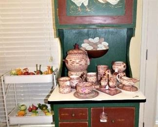 Painted Cabinet, Temp-tations Pottery items