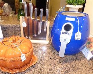 New Air Fryer, Temp-tations Pumpkin Tureen, Wolfgang Puck knife set (new, never used)