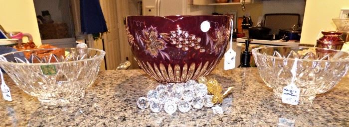 Marquis by Waterford bowls, Ruby Red cut to Clear Bowl