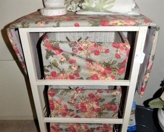 Rolling Ironing Board with storage baskets