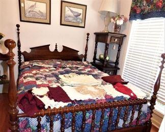 Crescent Cherry Full 4 Post Spool Bed