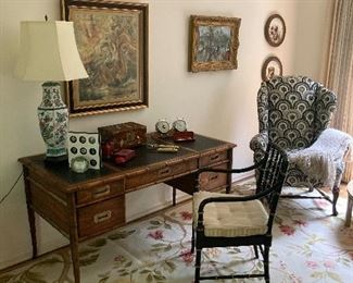 DREXEL Desk, KINDEL Arm Chair, Needlepoint Rug, Wing Chair, Floral Lamp & More!
