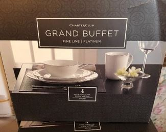 New in box Charter Club Classic Gold and Fine Line Platinum china sets from Macy's