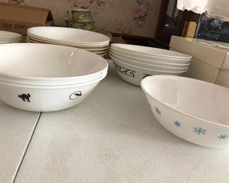 corelle large pasta / serving bowls in several different patterns including halloween, black rim
