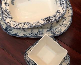 222 Fifth Adelaide blue and white serving bowls and appetizer plates & bowls - all new in box