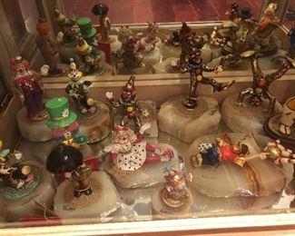 Ron Lee Clown figurines on quartz / onyx