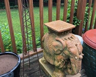 terra cotta elephant garden seat / plant stand